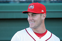 Pitcher Madison Younginer (31) of the Greenville Drive prior to a game against the Charleston RiverDogs on Opening Day, Friday, April 5, 2013, at Fluor Field at the West End in Greenville, South Carolina. (Tom Priddy/Four Seam Images)
