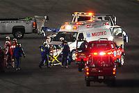 Feb 7, 2009; Daytona Beach, FL, USA; ARCA RE/MAX Series driver Patrick Sheltra is taken away on a stretcher after being cut out of his car following a crash during the Lucas Oil Slick Mist 200 at Daytona International Speedway. Mandatory Credit: Mark J. Rebilas-