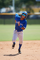 GCL Blue Jays right fielder Warnel Valdez (16) runs the bases during a game against the GCL Yankees East on August 2, 2018 at Yankee Complex in Tampa, Florida.  GCL Yankees East defeated GCL Blue Jays 5-4.  (Mike Janes/Four Seam Images)