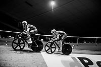 Iljo Keisse (BEL/Deceuninck-QuickStep) piloting Elia Viviani (ITA/Deceuninck-QuickStep) for a fastest lap<br /> <br /> Lotto 6daagse Vlaanderen-Gent 2018 / Gent6<br /> day 5