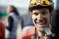 a smiling Jempy Drucker (LUX/BMC) interviewed post-race<br /> <br /> 113th Paris-Roubaix 2015