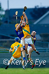 Conor O'Keeffe, Lixnaw, in action against Jordan Brick, Kilmoyley, during the County Senior hurling Semi-Final between Kilmoyley and Lixnaw at Austin Stack park on Saturday evening.