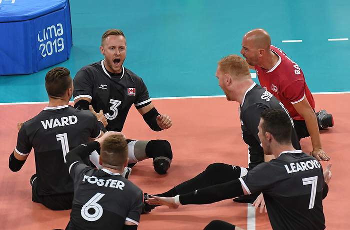 Austin Hinchey, Mickael Bartholdy, Darek Symonowics, Doug Learoyd, Bryce Foster, Jesse Ward, and Jesse Buckingham, Lima 2019 - Sitting Volleyball // Volleyball assis.<br /> Canada competes in men's Sitting Volleyball // Canada participe au volleyball assis masculin. 24/08/2019.