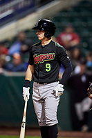 Nolan Brown (9) of the Great Falls Voyagers bats against the Ogden Raptors at Lindquist Field on September 14, 2017 in Ogden, Utah. The Raptors defeated the Voyagers 7-4 in Game One of the Pioneer League Championship. (Stephen Smith/Four Seam Images)