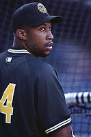 Jermaine Dye of the Oakland Athletics during a 2001 season MLB game at Angel Stadium in Anaheim, California. (Larry Goren/Four Seam Images)