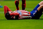 Antoine Griezmann of Atletico de Madrid, holding his head and lying on the pitch, reacts during the La Liga 2018-19 match between Atletico de Madrid and RCD Espanyol at Wanda Metropolitano on December 22 2018 in Madrid, Spain. Photo by Diego Souto / Power Sport Images
