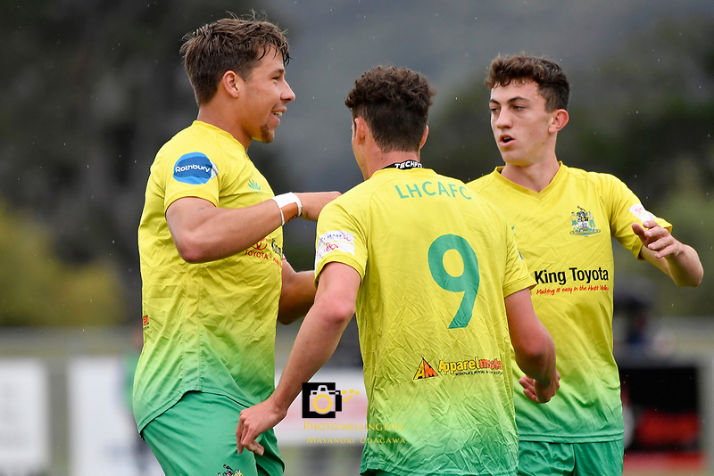 Riley Bidois of Lower Hutt AFC celebrates a goal with team mates during the Central League Football - Petone FC v Lower Hutt AFC at Petone Memorial Park, Lower Hutt, New Zealand on Friday 2 April 2021.<br /> Copyright photo: Masanori Udagawa /  www.photosport.nz