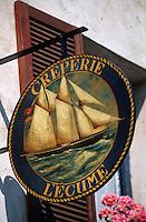 Europe/France/Bretagne/29/Finistère/Concarneau: Enseigne crêperie rue Vauban dans la ville close