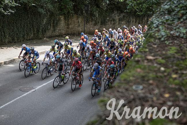 Peloton up the Keizersberg<br /> <br /> 51th GP Jef 'Poeske' Scherens 2017 <br /> Leuven - Leuven (13local laps/153.7km)