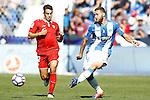 CD Leganes' David Timor (r) and Sevilla FC's Wissam Ben Yedder during La Liga match. October 15,2016. (ALTERPHOTOS/Acero)