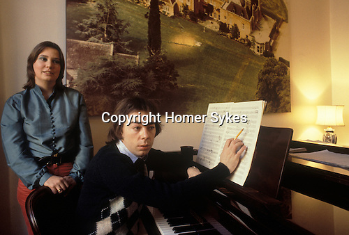 Andrew Lloyd Webber at home Eaton Place London.1981 with first wife Sarah Hugill London UK