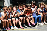 Young fans cheer on the riders during Stage 5 of the 2018 Criterium du Dauphine 2018 running 130km from Grenoble to Valmorel, France. 8th June 2018.<br /> Picture: ASO/Alex Broadway | Cyclefile<br /> <br /> <br /> All photos usage must carry mandatory copyright credit (© Cyclefile | ASO/Alex Broadway)