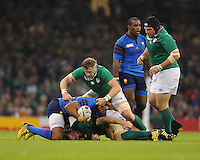 Jamie Heaslip of Ireland was dominant in the loose during Match 39 of the Rugby World Cup 2015 between France and Ireland - 11/10/2015 - Millennium Stadium, Cardiff<br /> Mandatory Credit: Rob Munro/Stewart Communications