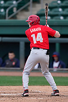 Canter fielder Nate Karaffa (14) of the Ohio State Buckeyes in a game against the Illinois Fighting Illini on Friday, March 5, 2021, at Fluor Field at the West End in Greenville, South Carolina. (Tom Priddy/Four Seam Images)