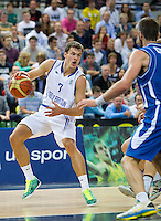 20 AUG 2014 - LONDON, GBR - Devon Van Oostrum (GBR) (left) from Great Britain tries to evade a challenge during the men's 2015 EuroBasket 3rd Qualifying Round game against Iceland at the Copper Box Arena in the Queen Elizabeth Olympic Park in Stratford, London, Great Britain (PHOTO COPYRIGHT © 2014 NIGEL FARROW, ALL RIGHTS RESERVED)