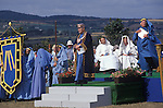 Cornish Bards dressed in blue at the annual  Gorsedh Ceremony Marazion Cornwall UK. Gorsedh Kernow  which is a non-political Cornish organisation exists to maintain the national Celtic spirit of Cornwall in Britain. The Gorsedh Kernow supports the revival of the Cornish language, encourages the study of the arts and history and everything Cornish.  Bardships are awarded for momentous works on Cornish culture. 1990s.