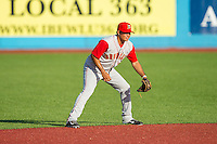 Brooklyn Cyclones second baseman Dimas Ponce (22) on defense against the Hudson Valley Renegades at Dutchess Stadium on June 18, 2014 in Wappingers Falls, New York.  The Cyclones defeated the Renegades 4-3 in 10 innings.  (Brian Westerholt/Four Seam Images)