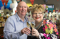 """Pictured: David and Penny Bradley at their pub in Aberdare, Wales, UK. Tuesday 24 July 2018<br /> Re: """"That's the last time I send him to do the lottery."""" David and Penny Bradley who missed out on £50m by one number - but still picked up £350,000.<br /> Pictured at their pub in Aberdare, South Wales"""