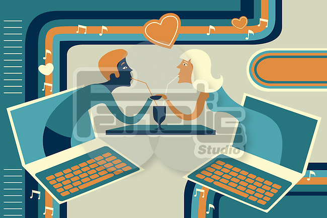 Illustrative of couple representing online dating