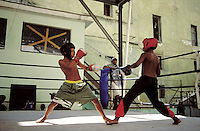 Young boys in a boxing match
