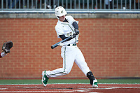 Hunter Jones (33) of the Charlotte 49ers makes contact with the baseball during the game against the Arkansas Razorbacks at Hayes Stadium on March 21, 2018 in Charlotte, North Carolina.  The 49ers defeated the Razorbacks 6-3.  (Brian Westerholt/Four Seam Images)