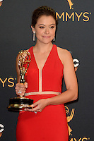 LOS ANGELES - SEP 18:  Tatiana Maslany at the 2016 Primetime Emmy Awards - Press Room at the Microsoft Theater on September 18, 2016 in Los Angeles, CA