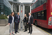 Launch of Polysolar photovoltaic bus shelter, Canary Wharf, London.