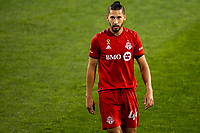 HARRISON, NJ - SEPTEMBER 23: HARRISON, NJ - Wednesday, September 23, 2020: Omar Gonzalez during a game between New York City FC and Toronto FC on September 23, 2020 at Red Bull Arena in Harrison, New Jersey during a game between Toronto FC and New York City FC at Red Bull Arena on September 23, 2020 in Harrison, New Jersey.