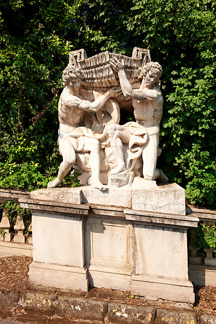 Royal Park of the Palace of Caserta - Baroque Figures from the  Aeolus Fountain. Italy. A UNESCO World Heritage Site