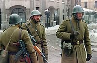 ROMANIA, Stirbei Voda street, Bucharest, 25.01.1990..Soldiers controle the cars in Stirbei Voda..© Andrei Pandele / EST&OST