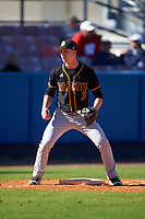 Bethune-Cookman Wildcats third baseman Brandon Wilkes (3) during practice before a game against the Wisconsin-Milwaukee Panthers on February 26, 2016 at Chain of Lakes Stadium in Winter Haven, Florida.  Wisconsin-Milwaukee defeated Bethune-Cookman 11-0.  (Mike Janes/Four Seam Images)