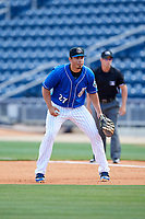 Biloxi Shuckers first baseman Jacob Nottingham (27) during a game against the Jackson Generals on April 23, 2017 at MGM Park in Biloxi, Mississippi.  Biloxi defeated Jackson 3-2.  (Mike Janes/Four Seam Images)