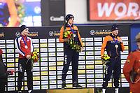 SPEEDSKATING: CALGARY: 03-03-2019, ISU World Allround Speed Skating Championships, Overall Podium Men, Sverre Lunde Pedersen (NOR), Patrick Roest (NED), Sven Kramer (NED), ©Fotopersburo Martin de Jong