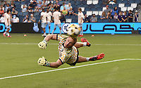 KANSAS CITY, KS - SEPTEMBER 11: Tim Melia #29 of Sporting Kansas City warming up before the start of the game during a game between Chicago Fire FC and Sporting Kansas City at Children's Mercy Park on September 11, 2021 in Kansas City, Kansas.