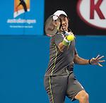 Key Nishikori (JPN) defeats Steve Johnson (USA) 6-7, 6-1, 6-2, 6-3  at the Australian Open being played at Melbourne Park in Melbourne, Australia on January 24, 2015