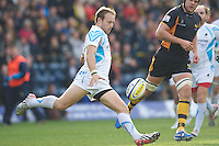 Chris Pennell of Worcester Warriors clears his line during the Aviva Premiership match between London Wasps and Worcester Warriors at Adams Park on Sunday 7th October 2012 (Photo by Rob Munro)