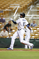 Glendale Desert Dogs infielder Darnell Sweeney (10) during an Arizona Fall League game against the Peoria Javelinas on October 13, 2014 at Camelback Ranch in Phoenix, Arizona.  The game ended in a tie, 2-2.  (Mike Janes/Four Seam Images)