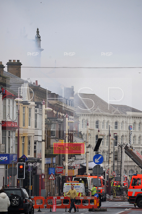 Yates's Fire 15/02/09..Smoke still billows from  Yates's, Talbot  Sq Balckpool