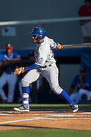 Ricardo Cespedes (32) of the Kingsport Mets follows through on his swing against the Danville Braves at American Legion Post 325 Field on July 9, 2016 in Danville, Virginia.  The Mets defeated the Braves 10-8.  (Brian Westerholt/Four Seam Images)