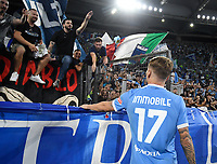 26th September 2021;  Stadio Olimpico, Rome, Italy; Italian Serie A football, SS Lazio versus AS Roma; Ciro Immobile of SS Lazio thanks the fans