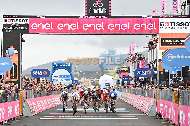 Photo finish between French Champion Arnaud Demare (FRA) Groupama-FDJ, Peter Sagan (SVK) Bora-Hansgrohe and Davide Ballerini (ITA) Deceuninck-Quick Step at the end of Stage 4 of the 103rd edition of the Giro d'Italia 2020 running 140km from Catania to Villafranca Tirrena, Sicily, Italy. 6th October 2020.   <br /> Picture: LaPresse/Massimo Paolone | Cyclefile<br /> <br /> All photos usage must carry mandatory copyright credit (© Cyclefile | LaPresse/Massimo Paolone)