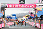 Photo finish between French Champion Arnaud Demare (FRA) Groupama-FDJ, Peter Sagan (SVK) Bora-Hansgrohe and Davide Ballerini (ITA) Deceuninck-Quick Step at the end of Stage 4 of the 103rd edition of the Giro d'Italia 2020 running 140km from Catania to Villafranca Tirrena, Sicily, Italy. 6th October 2020.   <br /> Picture: LaPresse/Massimo Paolone   Cyclefile<br /> <br /> All photos usage must carry mandatory copyright credit (© Cyclefile   LaPresse/Massimo Paolone)