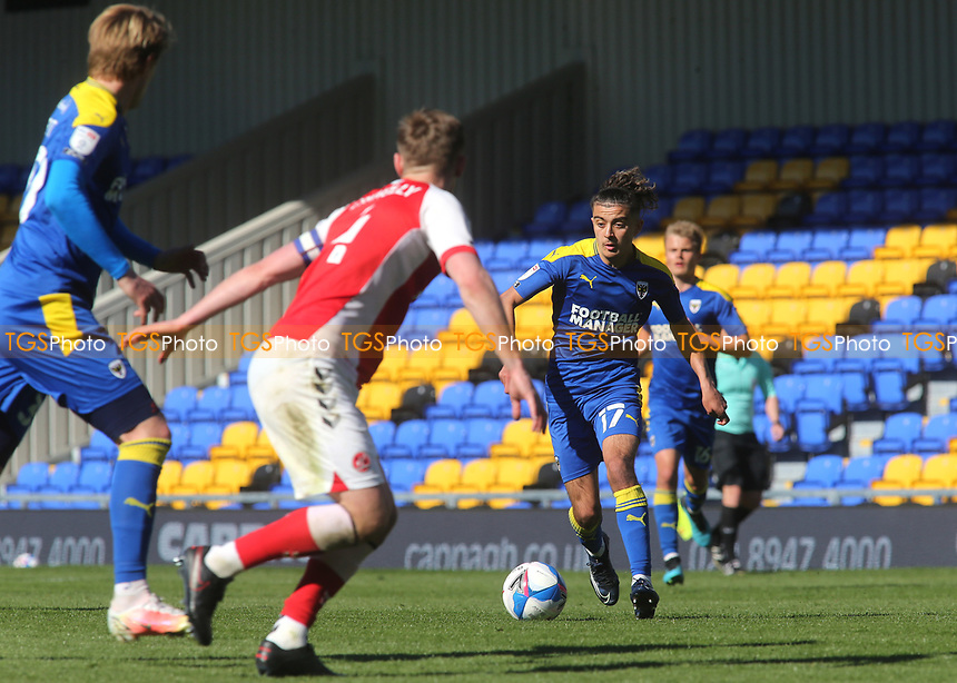 Ayoub Assal of AFC Wimbledon takes on the Fleetwood Town defence during AFC Wimbledon vs Fleetwood Town, Sky Bet EFL League 1 Football at Plough Lane on 5th April 2021
