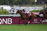 Olympic Glory with Jokey L. Dettori wins the Qatar Prix de La Foret at the Qatar Prix de l'Arc de Triomphe weekend.
