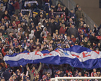 Revolution fans celebrate winning goal. The New England Revolution defeated FC Dallas, 2-1, at Gillette Stadium on April 4, 2009. Photo by Andrew Katsampes /isiphotos.com