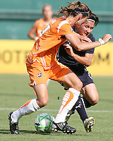 Lisa De Vanna #17 of Washington Freedom pushes off on Keeley Dowling #17 of Sky Blue FC during a WPS match at RFK Stadium on May 23, 2009 in Washington D.C.