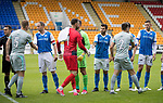 St Johnstone v Hartlepool…22.07.17… McDiarmid Park… Pre-Season Friendly<br />Saints captain Steven Anderson shakes hands with Scott Harrison as they welcome Hartlepool to McDiarmid Park<br />Picture by Graeme Hart.<br />Copyright Perthshire Picture Agency<br />Tel: 01738 623350  Mobile: 07990 594431