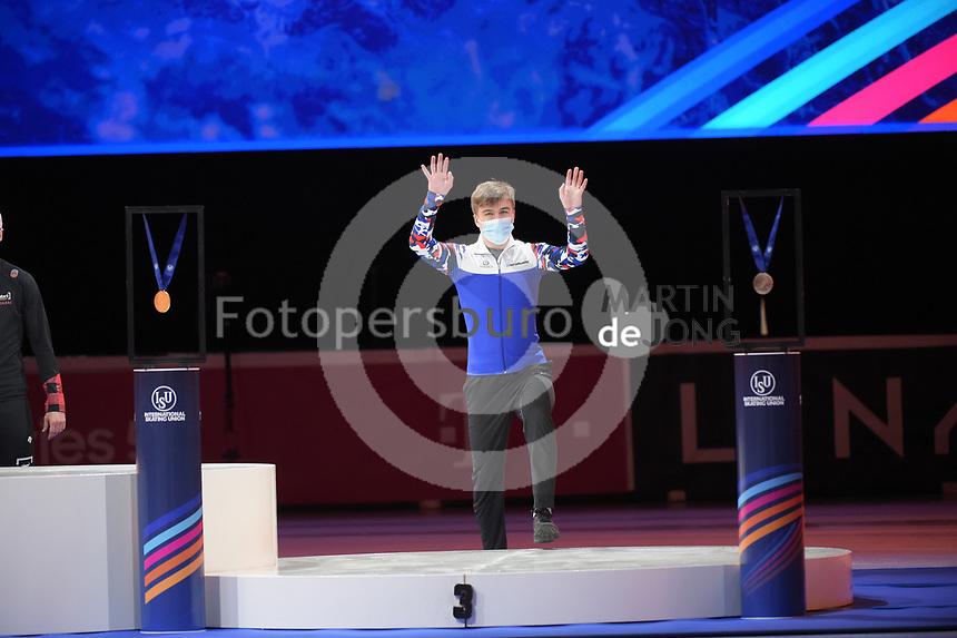 SPEEDSKATING: DORDRECHT: 06-03-2021, ISU World Short Track Speedskating Championships, Podium 1500m Men, Semen Elistratov (RSU), ©photo Martin de Jong