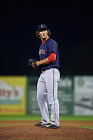 Lowell Spinners relief pitcher Mitchell Osnowitz (39) delivers a warmup pitch during a game against the Batavia Muckdogs on July 12, 2017 at Dwyer Stadium in Batavia, New York.  Batavia defeated Lowell 7-2.  (Mike Janes/Four Seam Images)