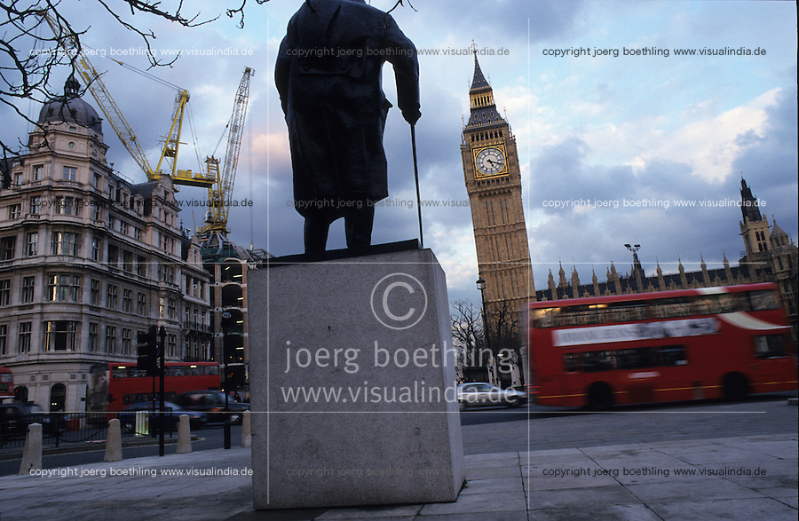 Great Britain London, Big Ben and double decker bus and Churchill memorial / England, London,House of Parliament und Big Ben , roter Doppeldeckerbus und Denkmal fur Premier Winston Churchill